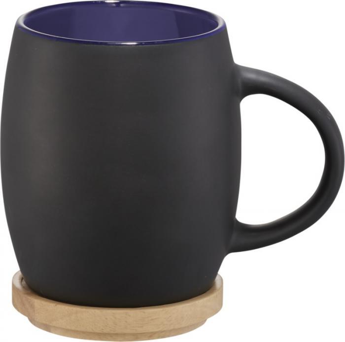 10046601 Ceramiczny kubek Hearth z drewnianym wiekiem/spodeczkiem