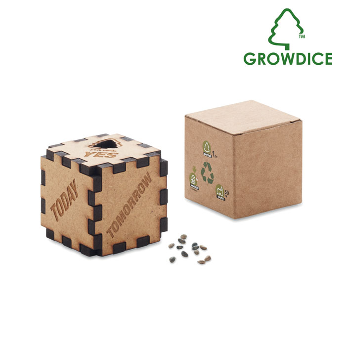 MO6227-13 Drewniana kostka z nasionami sosny
